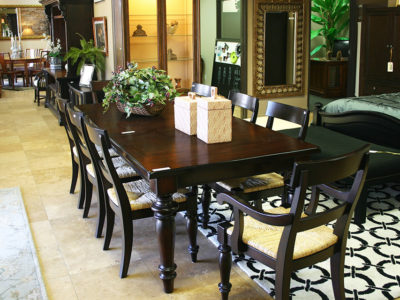 9 Piece Dining Set with Wicker Accents