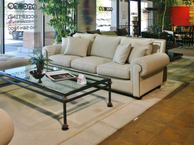Beige Sofa with Rectangle Glass Coffee Table