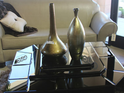 Black Geometric Coffee Table with Odd Shaped Vases