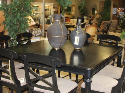 Black Square Dining Table with Seating for 8
