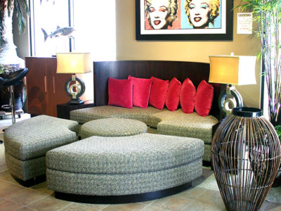 Break Apart Circle Couch with Red Pillows