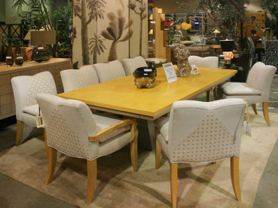Dining Set with 8 White Chairs and Yellow Wood Table