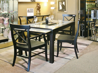 Dining Set with White and Black Table and 4 Black Dining Chairs