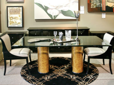 Glass Dining Table with Pair of Black and White Dining Chairs