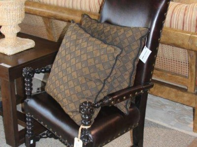 Leather Chair with a Pillow