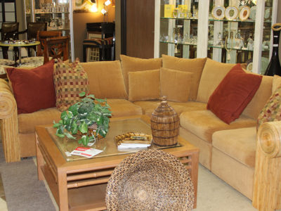 Light Brown Sectional with Square Coffee Table