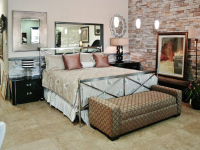 Metal Frame Bed with Black Nightstands and Bench Seat