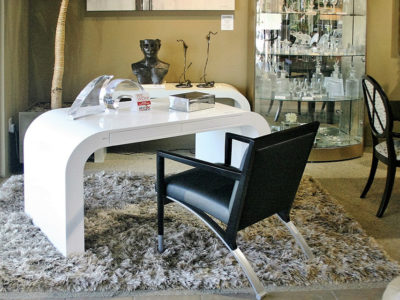 Modern White Desk with Black Arm Chair