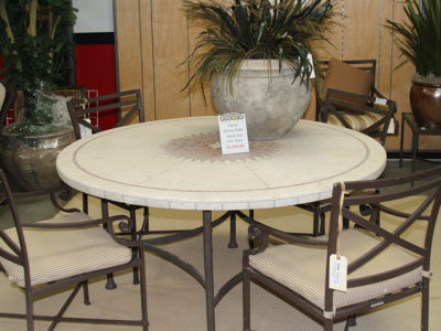 Round Stone Top Patio Table with Seating for 4