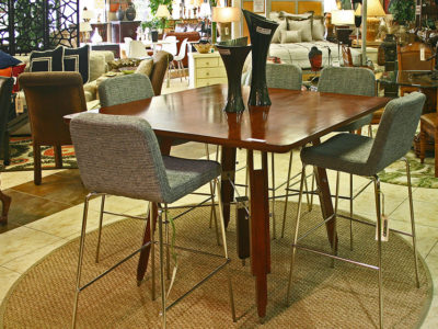 Tall Wood Dining Table with 5 Bar Stools