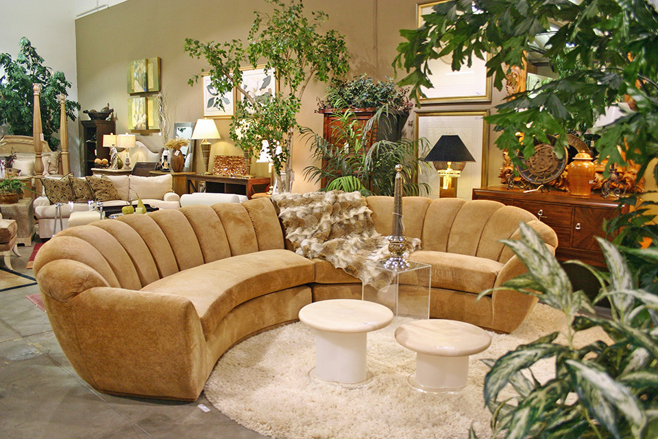 Tan Half Circle Couch With Fir Throw Encore Consign