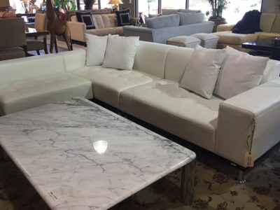 White Leather Sectional with Marble Coffee Table