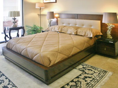 Wood Bed Frame with Nightstands and Lamps