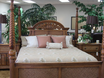 Wood Four Post Bed Frame with Wicker Detail