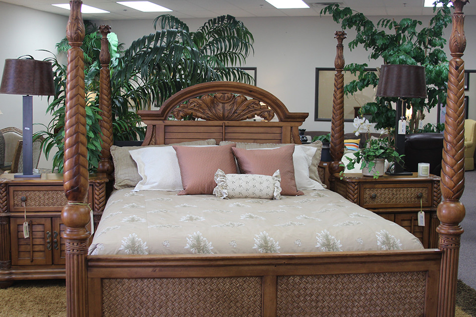 Wood Four Post Bed Frame with Wicker Detail - Encore Consign + ...