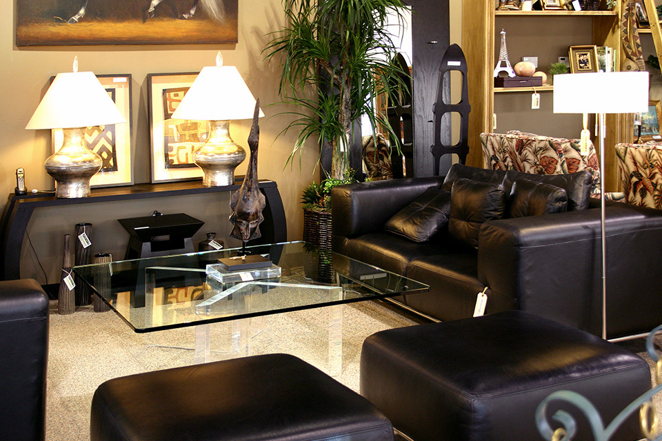 Incredible Black Leather Sofa With Glass Coffee Table Encore Consign Short Links Chair Design For Home Short Linksinfo