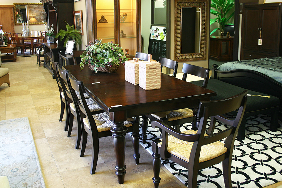 Dark Wood Dining Arm Chairs with Wicker Seats