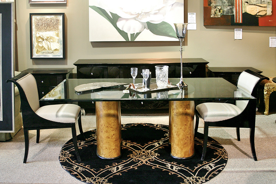 Dining Chairs with Black Frames and White Upholstery