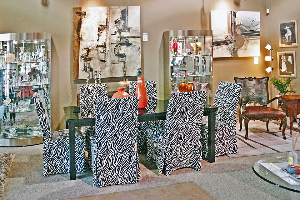 Dining Chairs with Zebra Print Slipcovers