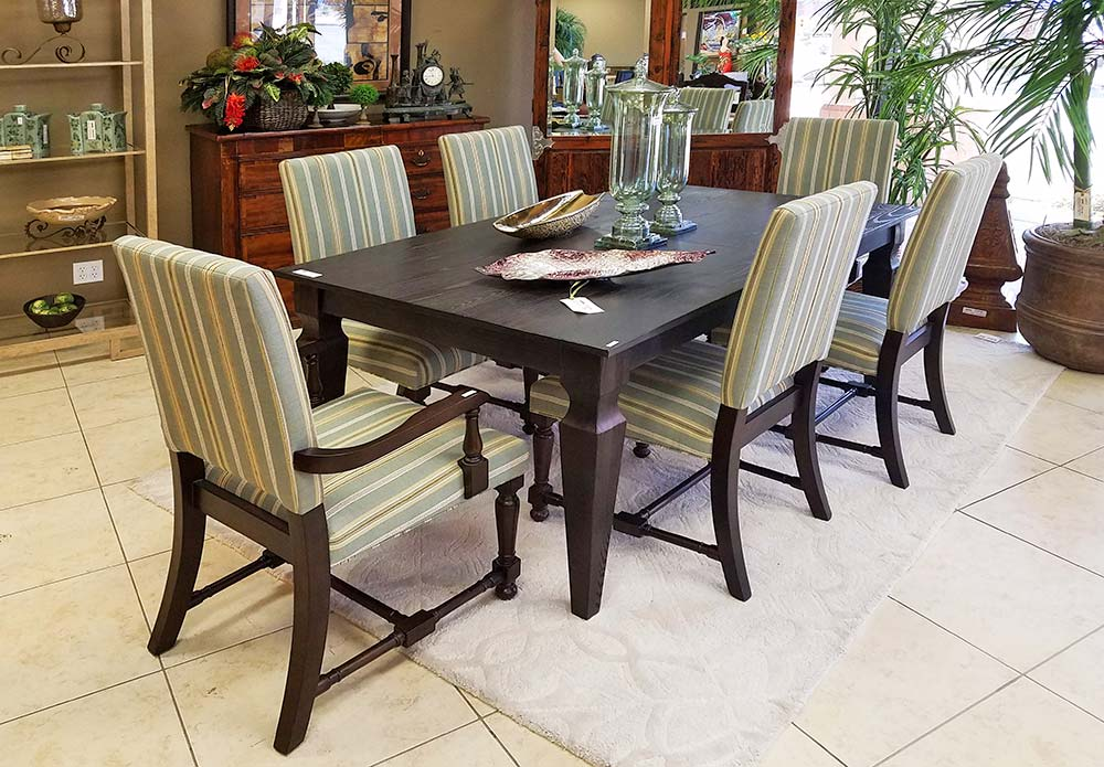 Dining Set Striped Chairs Lg Encore Consign Design Studio